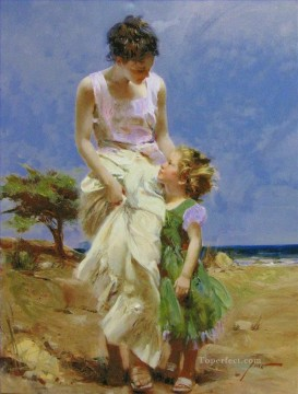 Pino Daeni mum and girl Oil Paintings